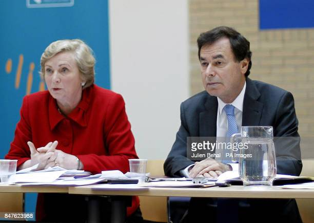 Justice Minister Alan Shatter and Children's Minister Frances Fitzgerald giving a briefing to media on legislation to strengthen the protection of...