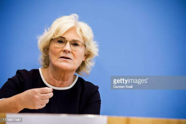 Justice Minister Christine Lambrecht participates a pressconference together with Family Minister Franziska Giffey and Interior Minister Horst...