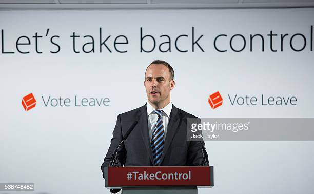 Justice minister Dominic Raab gives a speech at the 'Vote Leave' campaign headquarters in Westminster on June 8 2016 in London England Mr Raab was...