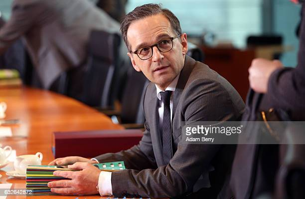 Justice Minister Heiko Maas arrives for the weekly German federal Cabinet meeting on January 25 2017 in Berlin Germany High on the meeting's agenda...