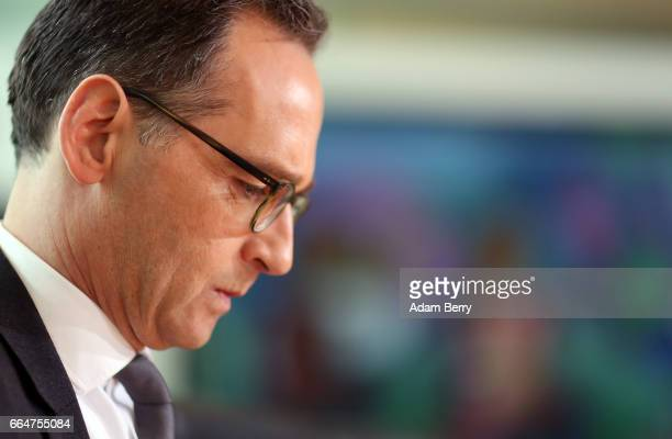 Justice Minister Heiko Maas arrives for the weekly German federal Cabinet meeting on April 5 2017 in Berlin Germany High on the meeting's agenda was...