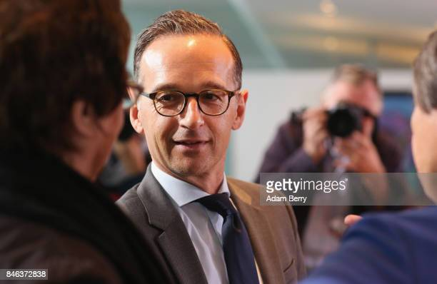 Justice Minister Heiko Maas arrives for the weekly German federal Cabinet meeting on September 13 2017 in Berlin Germany High on the meeting's agenda...