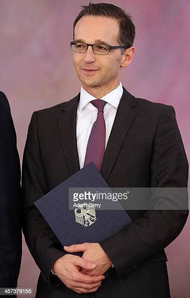 Justice Minister Heiko Maas attends a ceremony in which German President Joachim Gauck appointed the new German government cabinet on December 17,...
