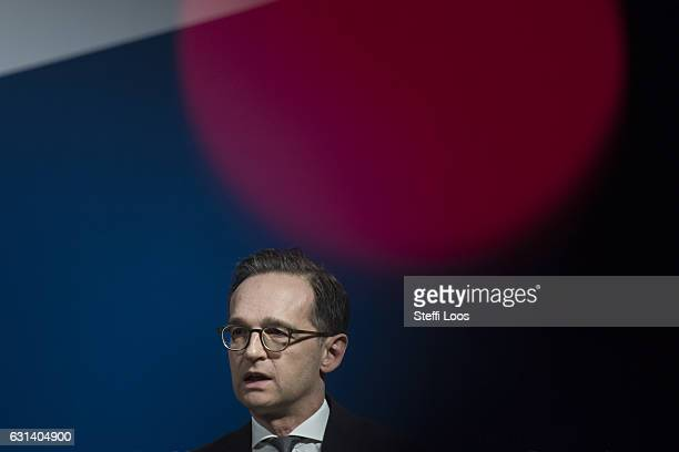 Justice Minister Heiko Maas speaks to the media following talks over new antiterror measures on January 10 2017 in Berlin Germany The measures under...