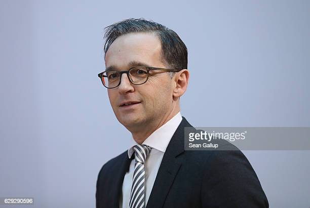Justice Minister Heiko Maas who is a member of the German Social Democrats arrives for a meeting of the SPD party board on December 12 2016 in Berlin...