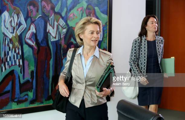 Justice Minister Katarina Barley and Defense Minister Ursula von der Leyen arrive for the weekly German federal Cabinet meeting on September 19 2018...