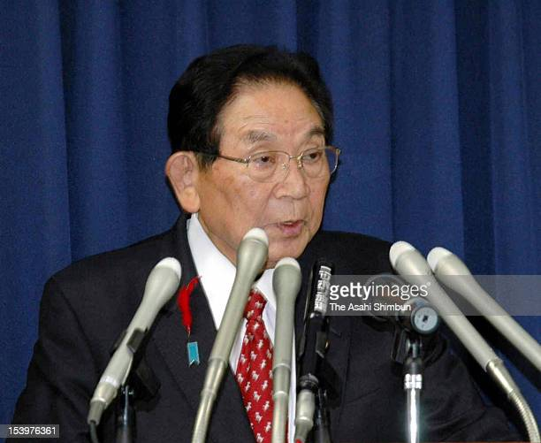 Justice Minister Keishu Tanaka speaks during a press conferece at Justice Ministry on October 12 2012 in Tokyo Japan Tanaka reported by a weekly...