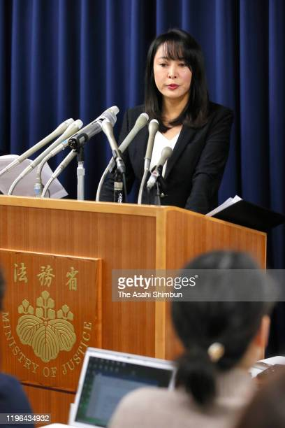 Justice Minister Masako Mori speaks during a press conference on December 26, 2019 in Tokyo, Japan. A Chinese man was executed for his involvement in...