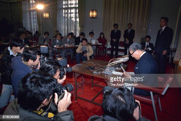 Justice Minister Takashi Hasegawa attends a press conference as he announces resignation over political donation from Recruit at Justice Ministry on...
