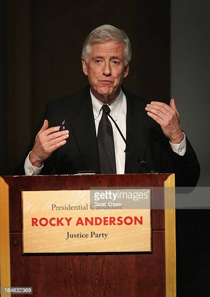 Justice Party presidential candidate Rocky Anderson makes a point during a debate hosted by the Free and Equal Elections Foundation and moderated by...