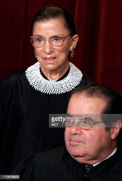 Justice Ruth Bader Ginsburg and Justice Antonio Scalia during the 2006 group photo inside the Supreme Court in Washington DC March 3 2006