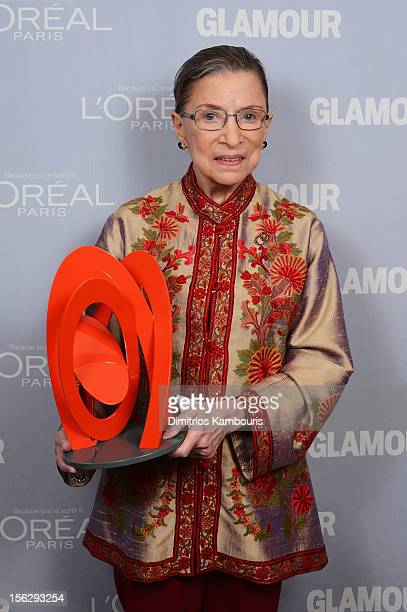 Justice Ruth Bader Ginsburg poses backstage at the 22nd annual Glamour Women of the Year Awards at Carnegie Hall on November 12 2012 in New York City