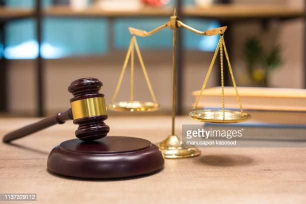 justice scales and wooden gavel. justice concept - auction stock pictures, royalty-free photos & images