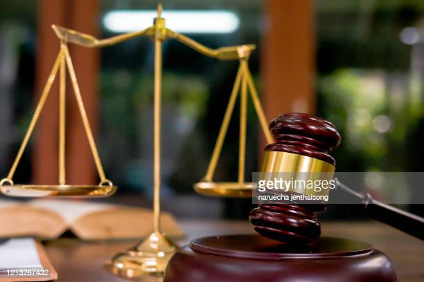 justice scales and wooden gavel. justice concept - antique stock pictures, royalty-free photos & images
