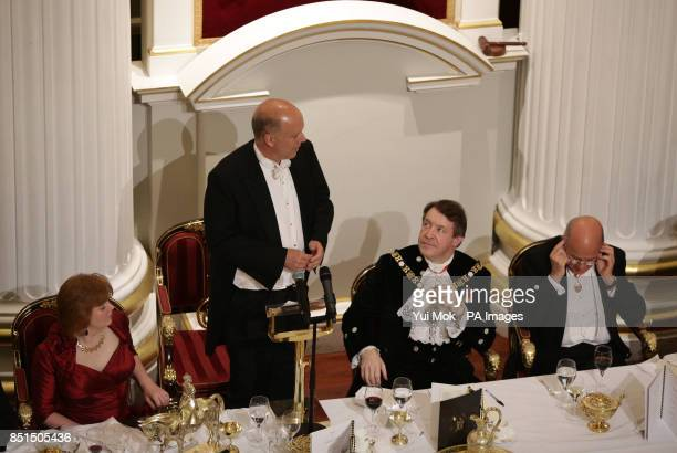 Justice Secretary Chris Grayling speaks as Alderman Roger Gifford the Lord Mayor of London and Lord Judge the Lord Chief Justice listen during the...