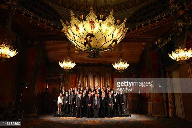Justice Secretary Ken Clarke poses with the 47 members of the Council of Europe for a family photograph at the Royal Pavilion, during the Council of...
