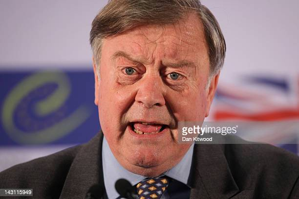 Justice Secretary Kenneth Clarke conducts a press conference after the first day of the Ministerial Conference on the Future of the European Court of...