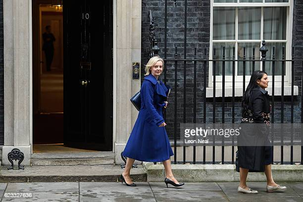 Justice Secretary Liz Truss and International Development Secretary Priti Patel leave number 10 Downing Street following a Cabinet meeting on...