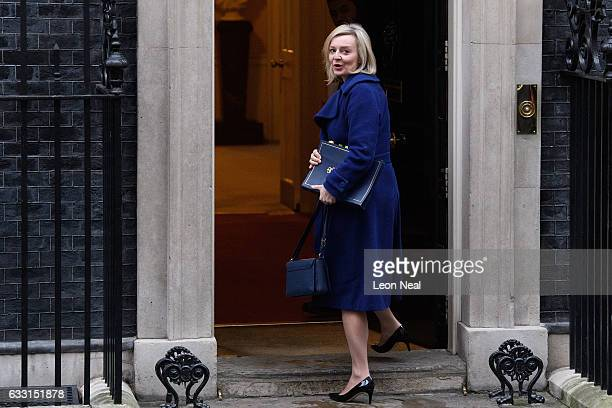 Justice Secretary Liz Truss arrives for the weekly Cabinet meeting at Downing Street on January 31 2017 in London England The Government is set to...
