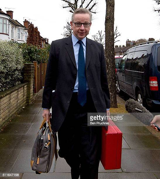 Justice Secretary Michael Gove and his daughter departs his West London home on February 22 2016 in London England Mr Gove will campaign for Britain...