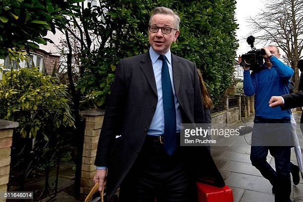 Justice Secretary Michael Gove departs his West London home on February 22 2016 in London England Mr Gove will campaign for Britain to leave the...