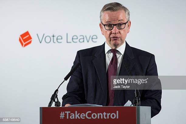 Justice Secretary Michael Gove gives a speech at the 'Vote Leave' campaign headquarters in Westminster on June 8, 2016 in London, England. Mr Gove...