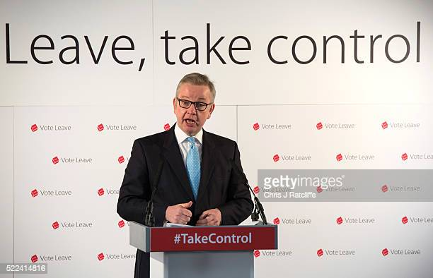 Justice Secretary Michael Gove MP gives a speech entitled 'The facts of life say Leave' on April 19, 2016 in London, England. The speech outlined the...