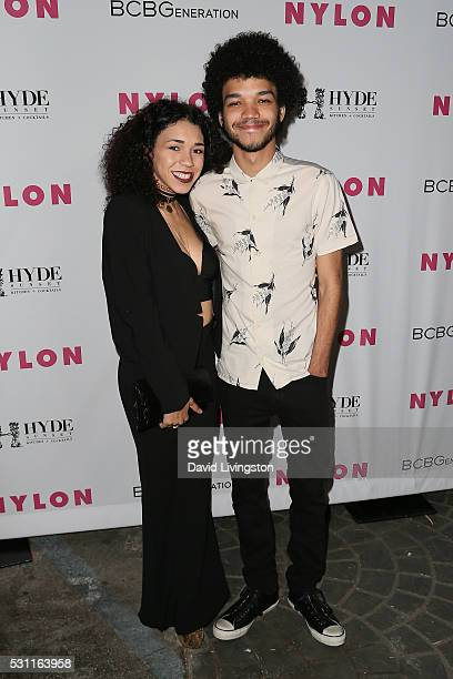 Justice Smith and guest arrive at NYLON and BCBGeneration's Annual Young Hollywood May Issue Event at HYDE Sunset Kitchen Cocktails on May 12 2016 in...