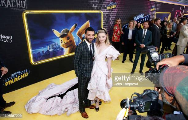 Justice Smith and Kathryn Newton attend Pokemon Detective Pikachu US Premiere at Times Square on May 02 2019 in New York City