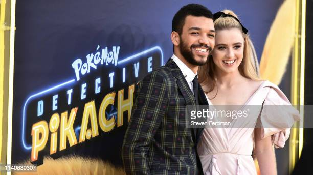 Justice Smith and Kathryn Newton attend the premiere of Pokemon Detective Pikachu at Military Island in Times Square on May 2 2019 in New York City