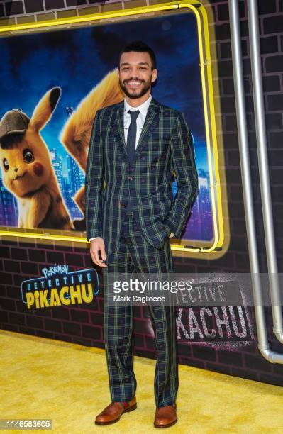 Justice Smith attends the Pokemon Detective Pikachu US Premiere at Times Square on May 02 2019 in New York City