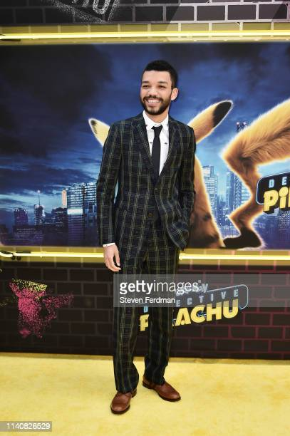 Justice Smith attends the premiere of Pokemon Detective Pikachu at Military Island in Times Square on May 2 2019 in New York City