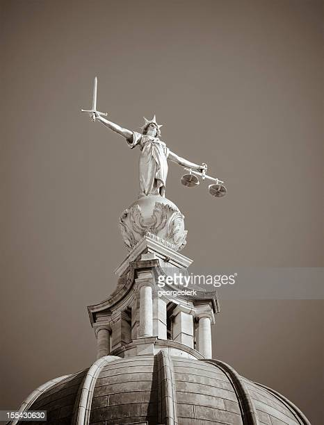 justice statue in black and white - old bailey stock photos and pictures