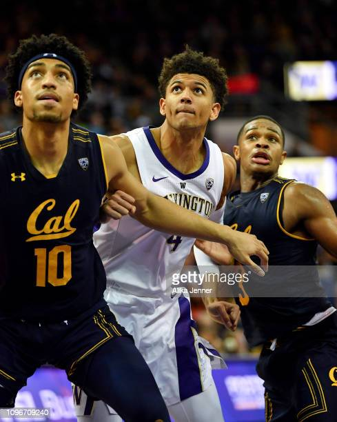 Justice Sueing and Paris Ausitn of the California Golden Bears challenge Matisse Thybulle of the Washington Huskies during a free throw at Hec...