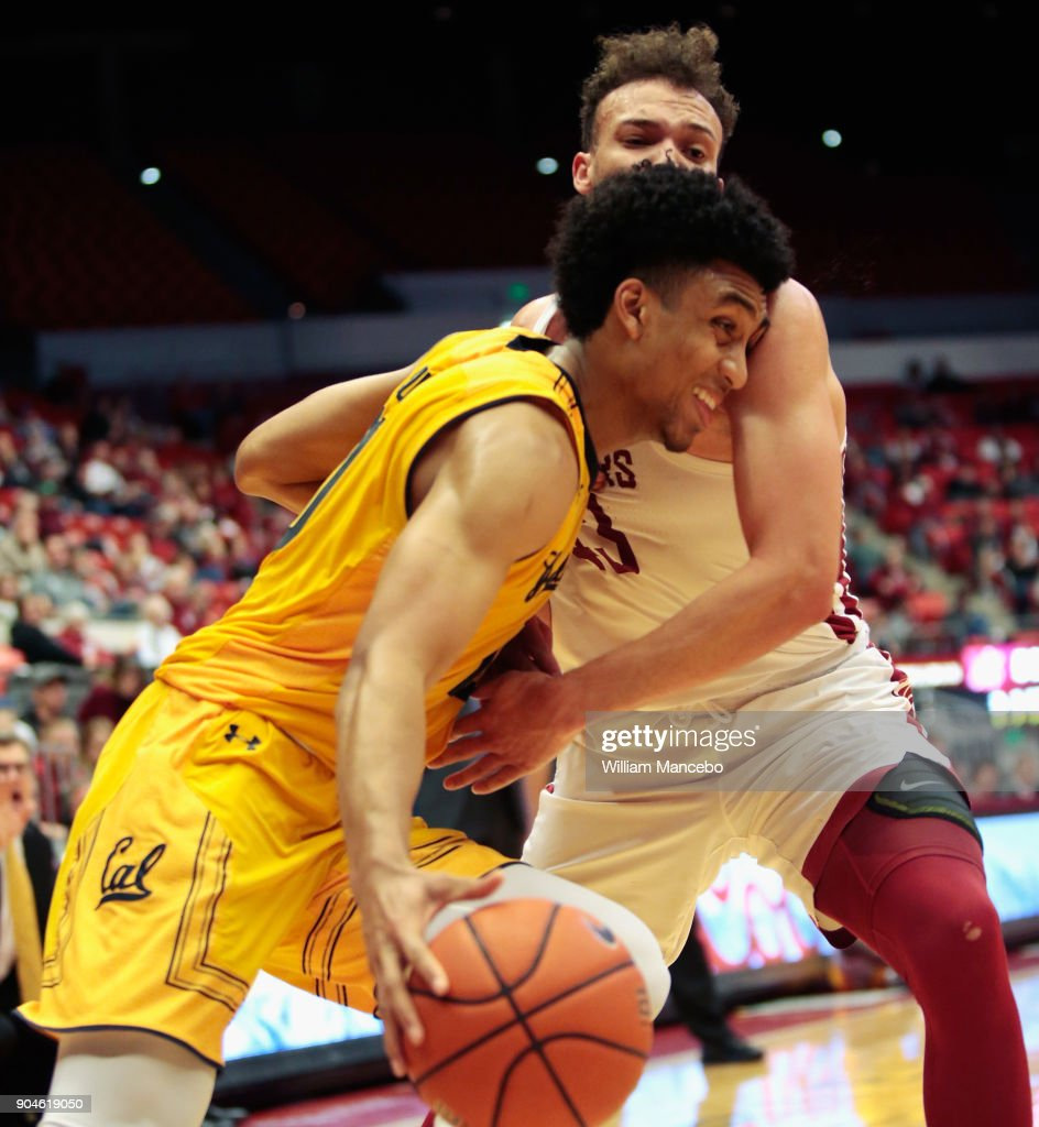 Justice Sueing #10 of the California Golden Bears drives against Drick Bernstine #43 of the Washington State Cougars in the second half at Beasley Coliseum on January 13, 2018 in Pullman, Washington. Washington State defeated California 78-53.