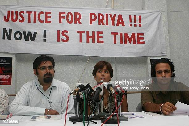'Justice4Priyadarshini' activists doing a press conference in New Delhi on July 10 in which they announced their action plans for Matoo's justice The...