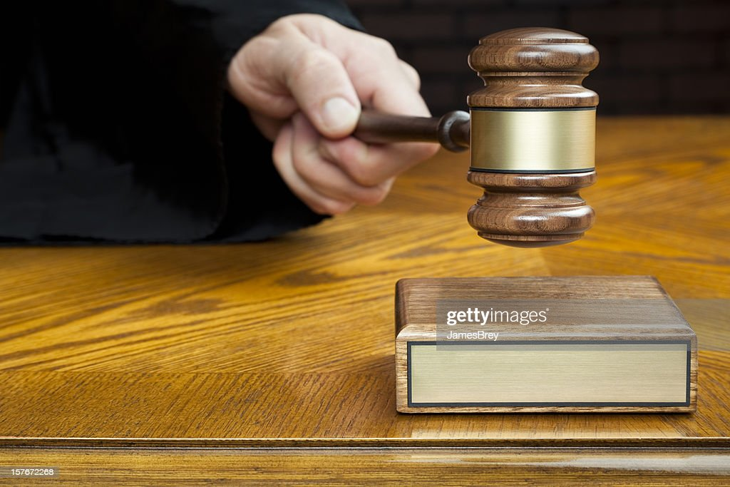 Justice's Hand Pounds Gavel to Block With Blank Plaque : Stock Photo