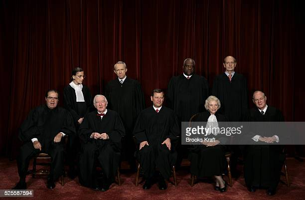 Justices of the US Supreme Court gather for an official picture their first since December 2003 at the Supreme Court in Washington DC October 31 2005...