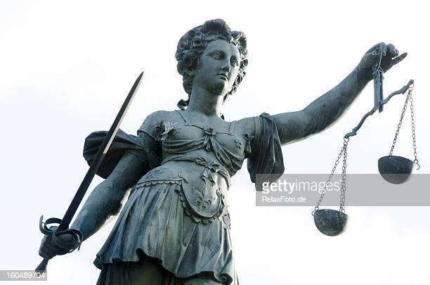 justicia - sculpture at justice fountain in frankfurt city, germany - lady justice stock pictures, royalty-free photos & images