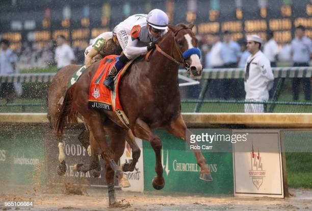 Justify ridden by jockey Mike Smith crosses the finish line to win the 144th running of the Kentucky Derby at Churchill Downs on May 5 2018 in...