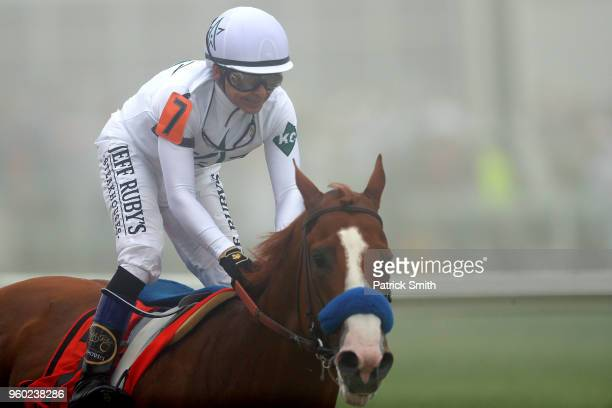 Justify ridden by jockey Mike Smith wins the 143rd running of the Preakness Stakes at Pimlico Race Course on May 19 2018 in Baltimore Maryland