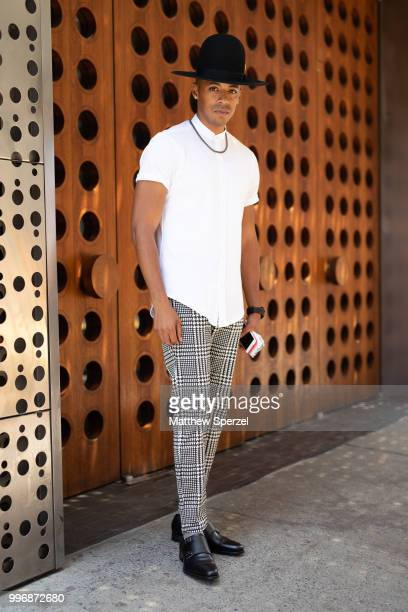 Justiin Davis is seen on the street during Men's New York Fashion Week wearing Zara and Hood by Air on July 11 2018 in New York City
