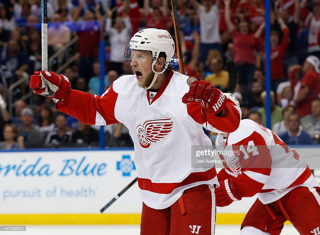 Justin Abdelkader #8 of the Detroit Red Wings celebrates the goal by Riley Sheahan #15 (not pictured) against the Tampa Bay Lightning during the first period in Game Five of the Eastern Conference Quarterfinals during the 2015 NHL Stanley Cup Playoffs at the Amalie Arena on April 25, 2015 in Tampa, Florida.