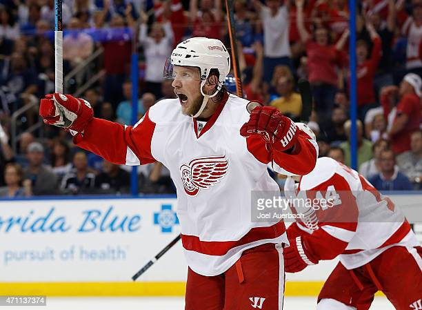 Justin Abdelkader of the Detroit Red Wings celebrates the goal by Riley Sheahan against the Tampa Bay Lightning during the first period in Game Five...