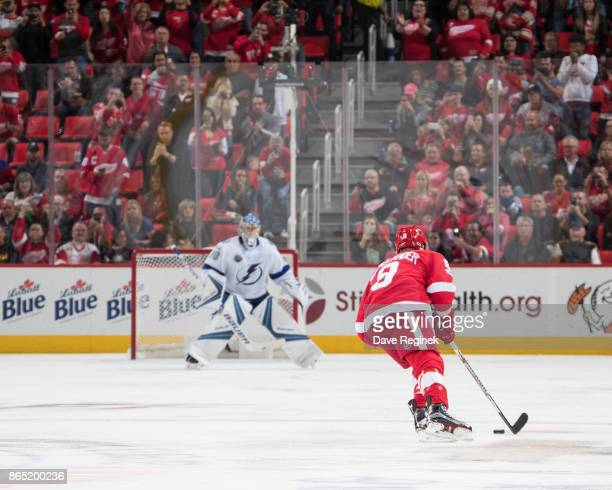 Justin Abdelkader of the Detroit Red Wings skates in for a penalty shot attempt in the second period on goaltender Andrei Vasilevskiy of the Tampa...