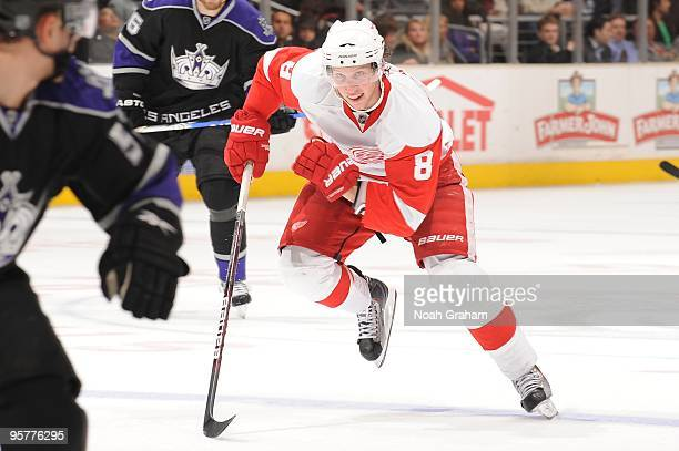 Justin Abdelkader of the Detroit Red Wings skates up ice against the Los Angeles Kings on January 7 2010 at Staples Center in Los Angeles California