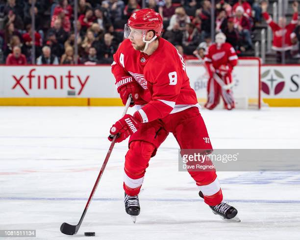 Justin Abdelkader of the Detroit Red Wings skates up ice with the puck against the Los Angeles Kings during an NHL game at Little Caesars Arena on...