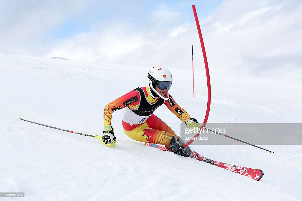 Justin Alkier of Canada competes in the Alpine Slalom - FIS Australia New Zealand Cup during the Winter Games NZ at Coronet Peak on August 29, 2015 in Queenstown, New Zealand.