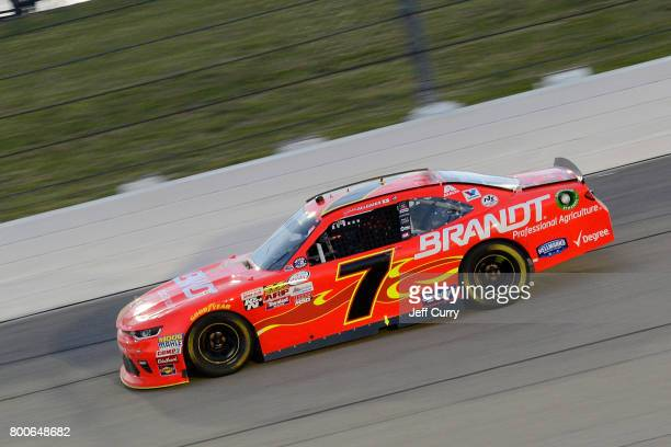 Justin Allgaier driver of the BRANDT Chevrolet drives during the NASCAR XFINITY Series American Ethanol E15 250 at Iowa Speedway on June 24 2017 in...