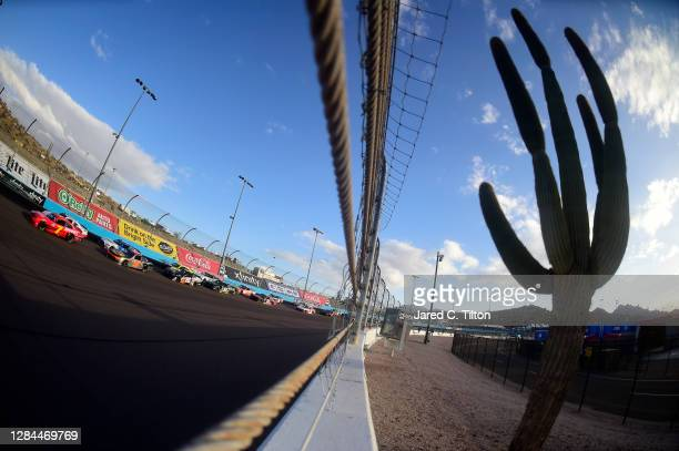 Justin Allgaier, driver of the BRANDT Chevrolet, leads the field during the NASCAR Xfinity Series Desert Diamond Casino West Valley 200 at Phoenix...